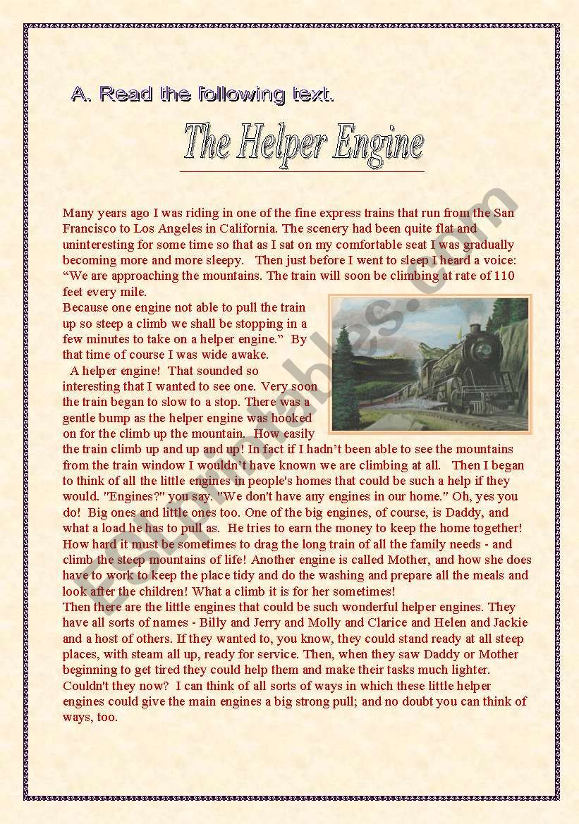 The Helper Engine worksheet