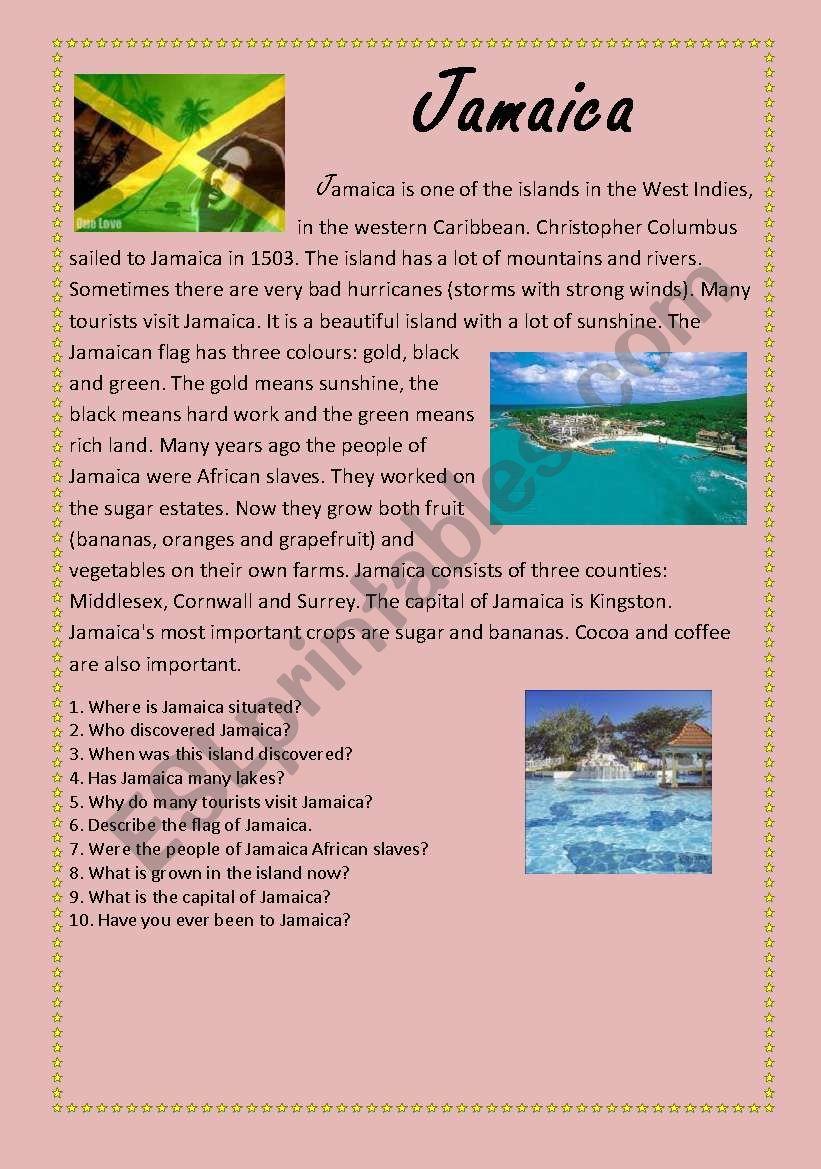 jamaica worksheet