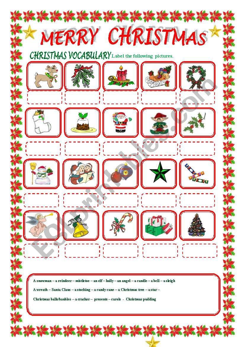 MERRY CHRISTMAS ( part 1) worksheet