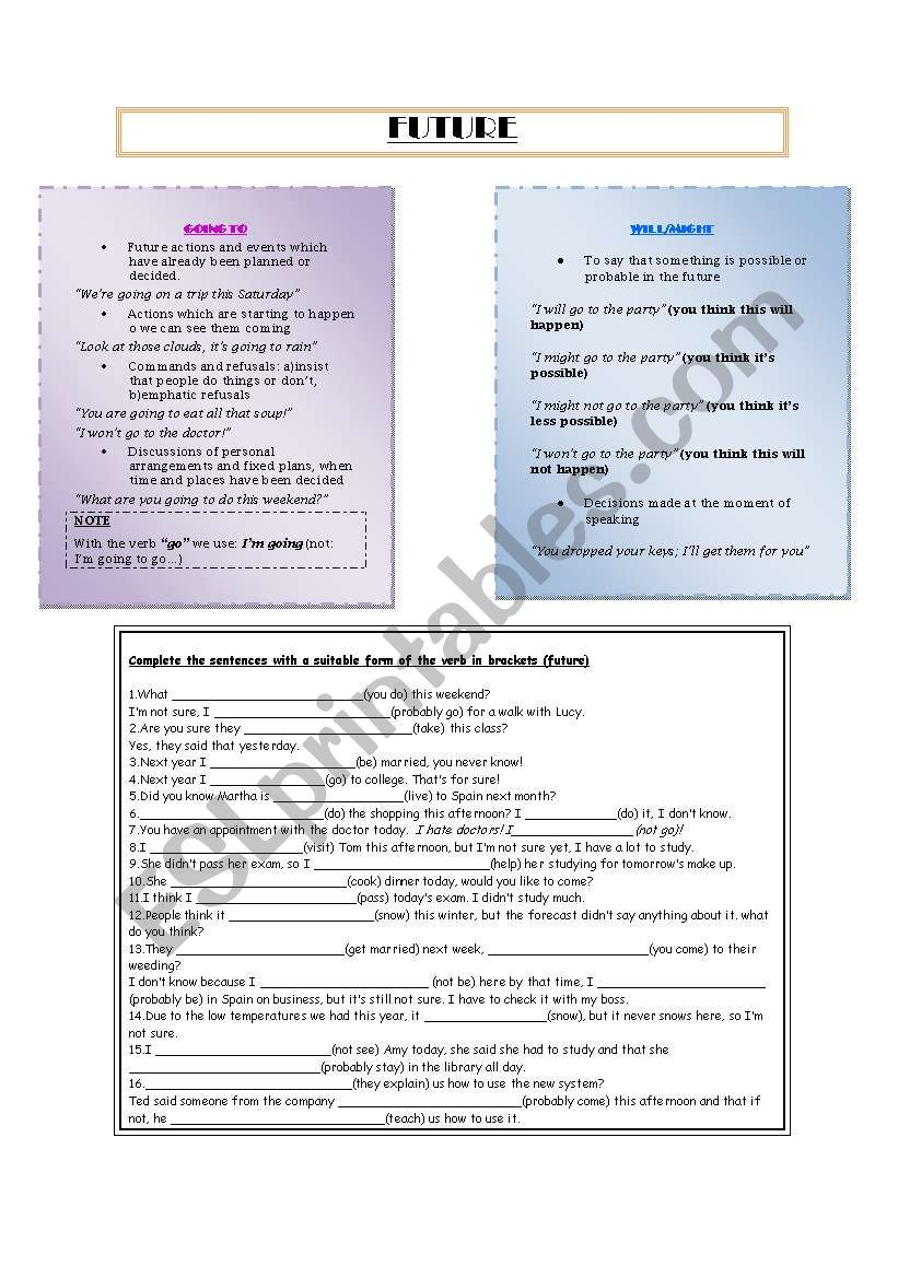 FUTURE worksheet