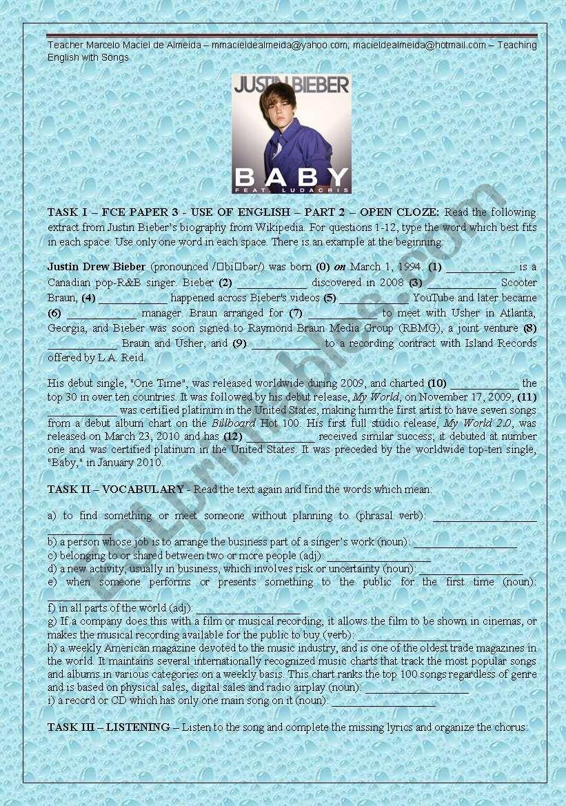 Baby, by Justin Bieber - upper-intermediate - ESL worksheet