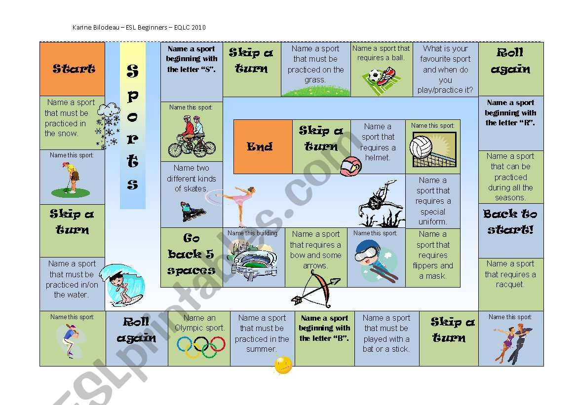 Board Game - Sports related questions and help sheet - Part 1/2