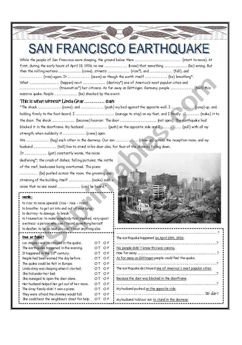Worksheets Earthquake Worksheet san francisco earthquake esl worksheet by lisa weix worksheet