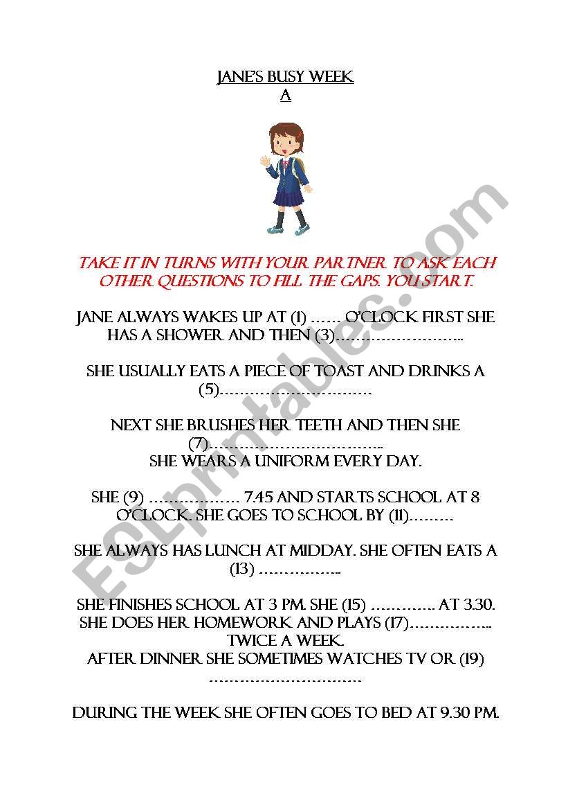 jane´s busy day worksheet
