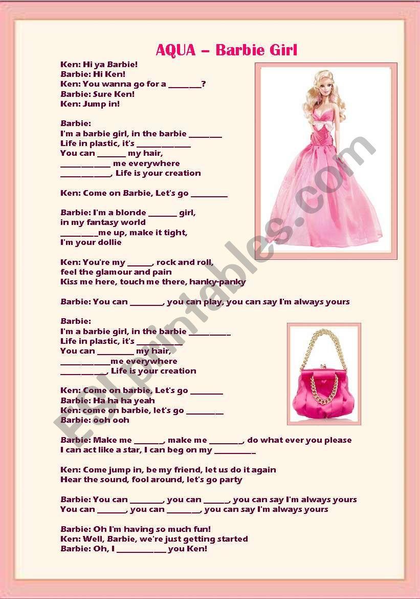Barbie Girl Song by Aqua worksheet