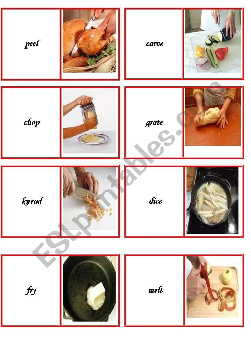 domino cooking verbs part 1 worksheet