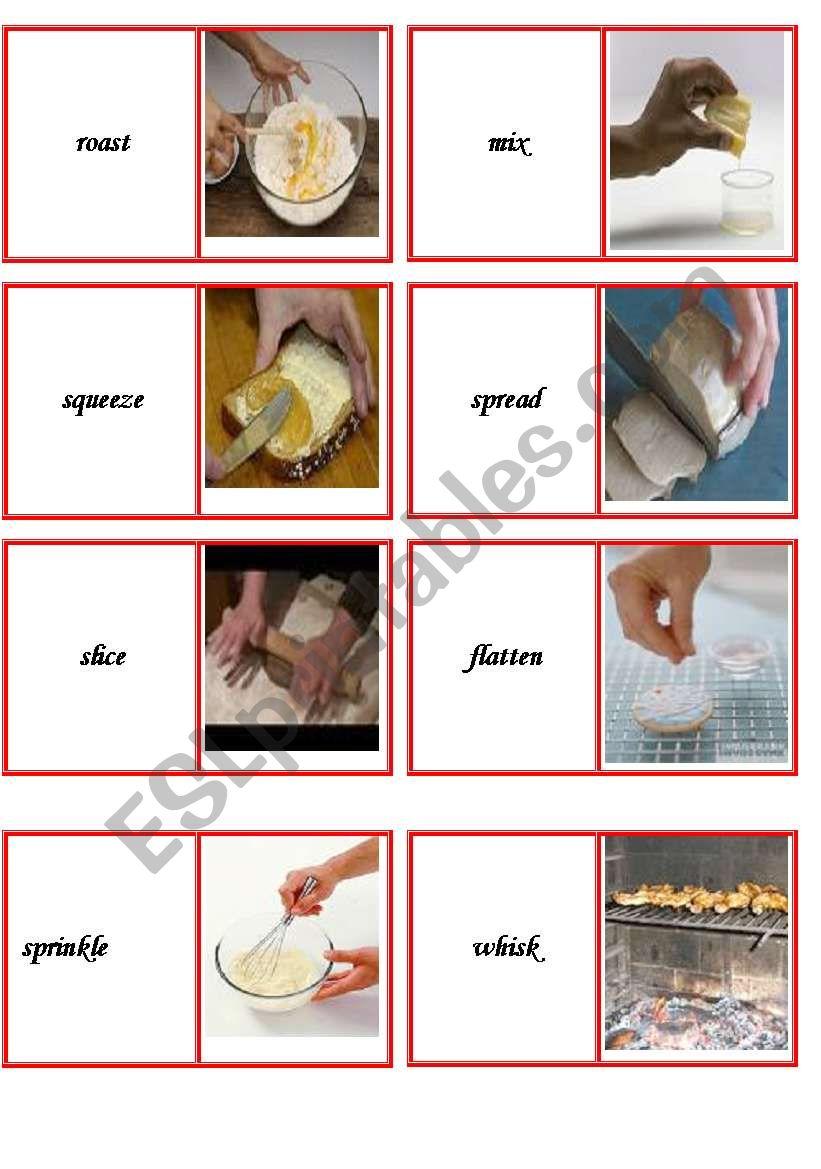 domino cooking verbs part 2 worksheet