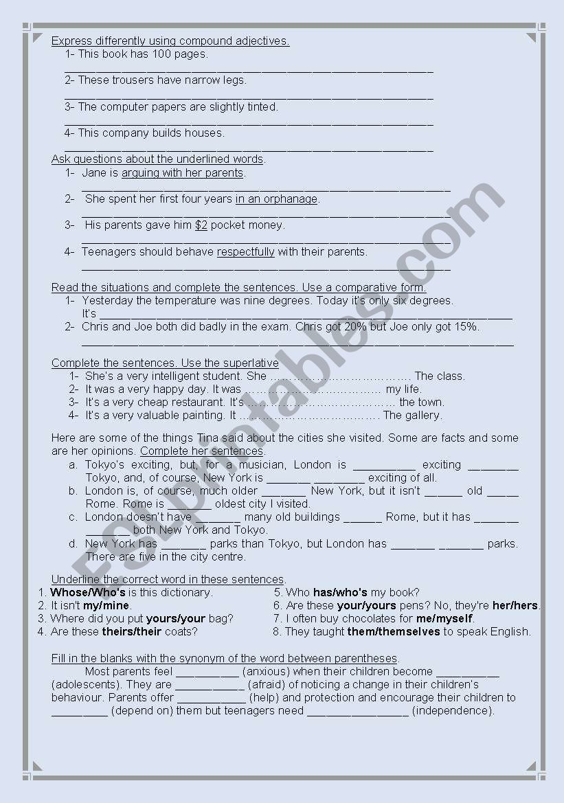 Revision worksheet - ESL worksheet by Ahmed B