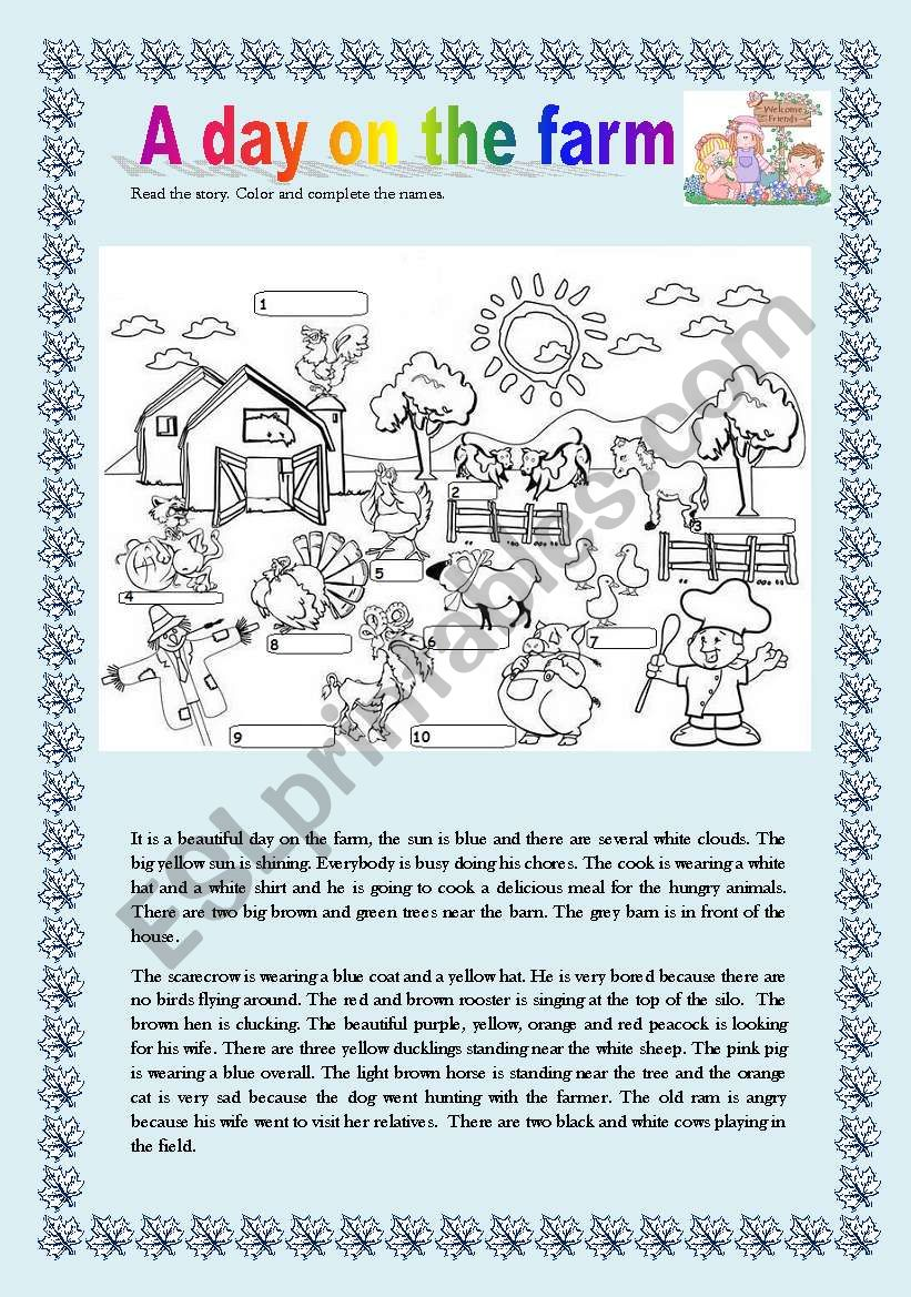 A day on the farm - ESL worksheet by claudiafer