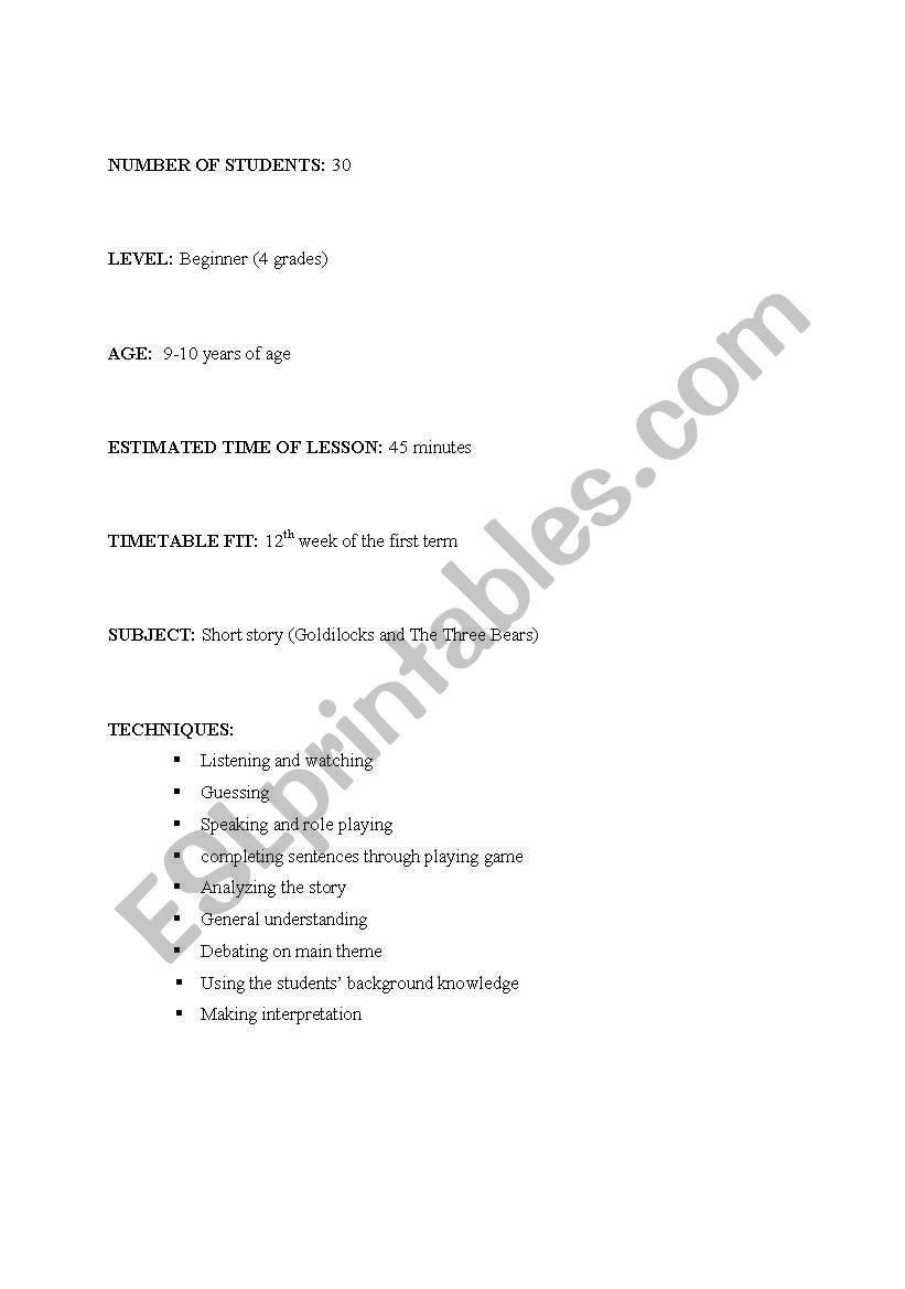 English worksheets: short story lesson plan