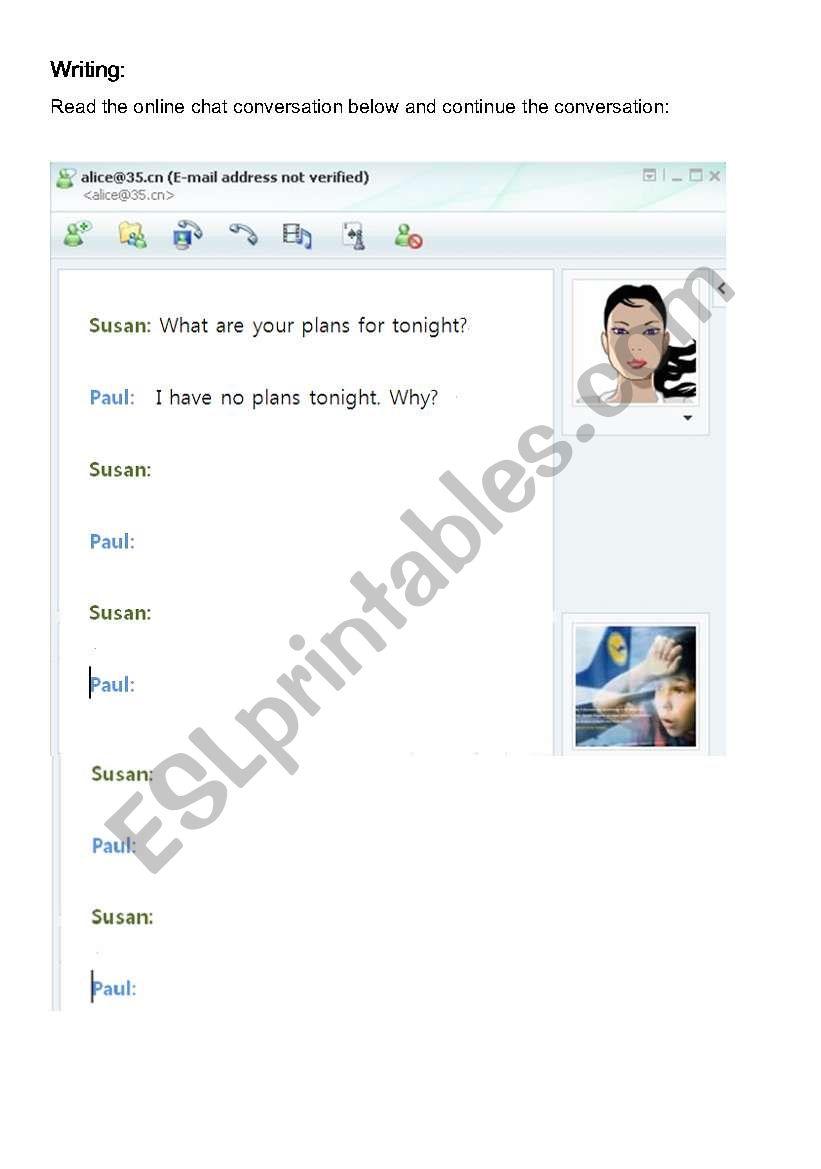 Online Chat worksheet