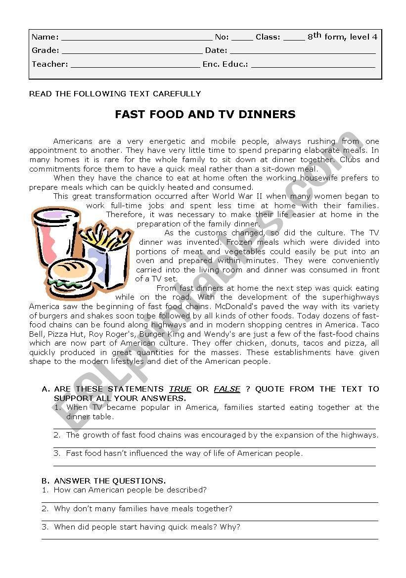 test on fast food worksheet