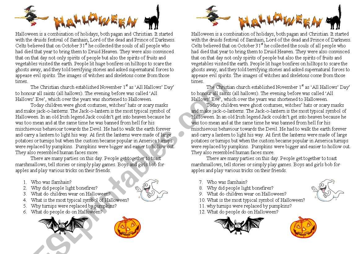 Halloween reading exercises worksheet