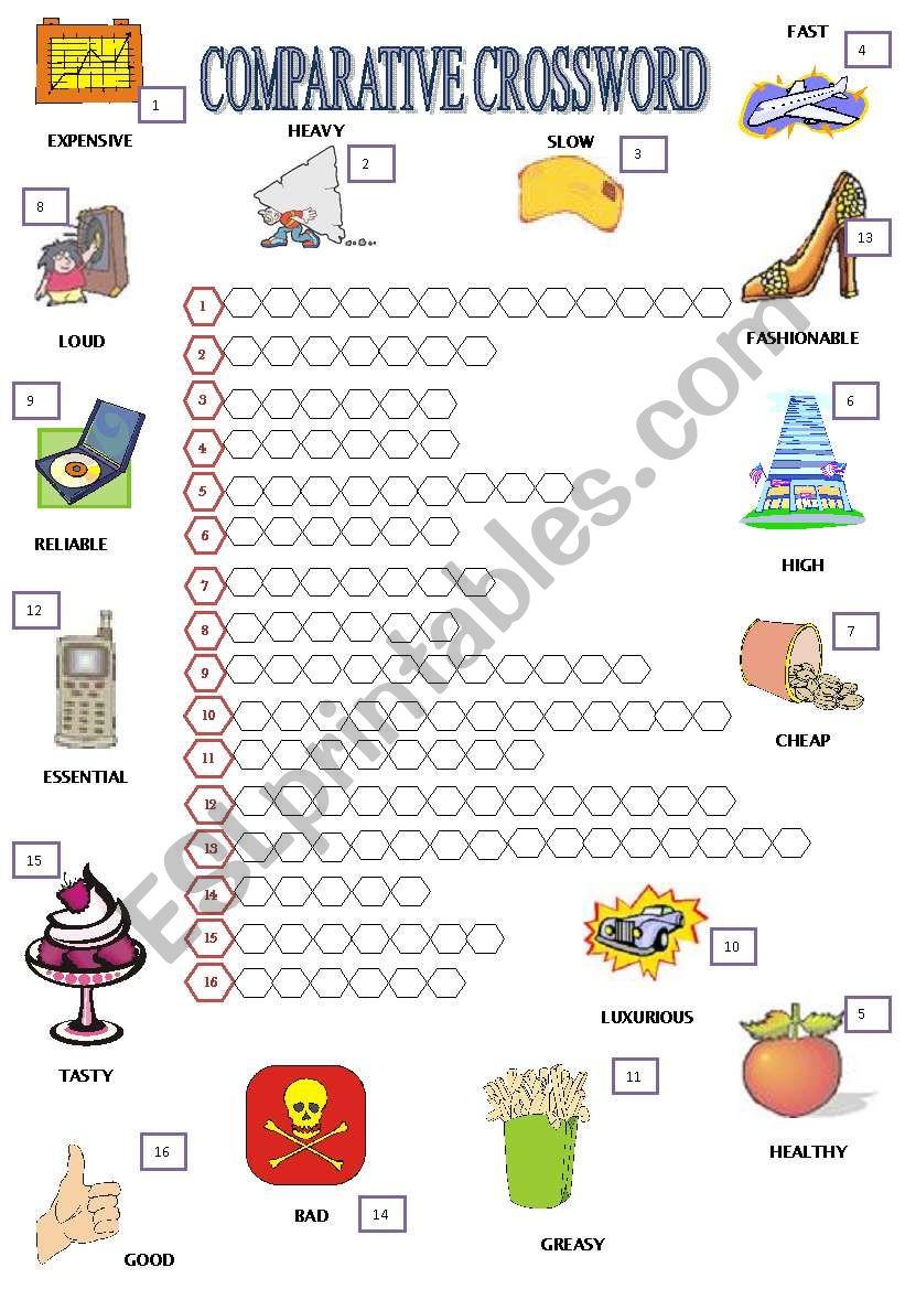 COMPARATIVE CROSSWORD + B&W + EXERCISE