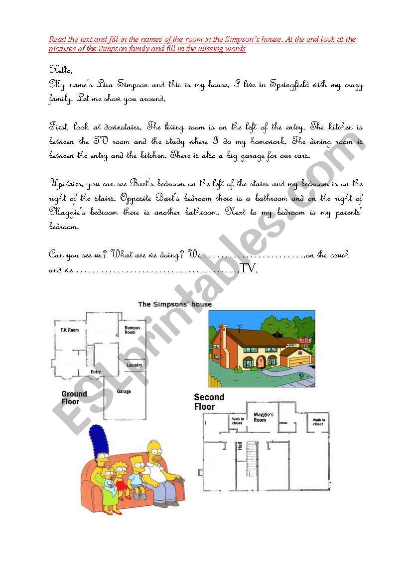 Lisa Simpson´s house worksheet