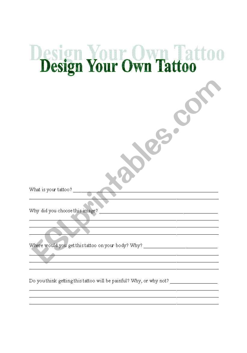 English worksheets: Design a Tattoo Worksheet