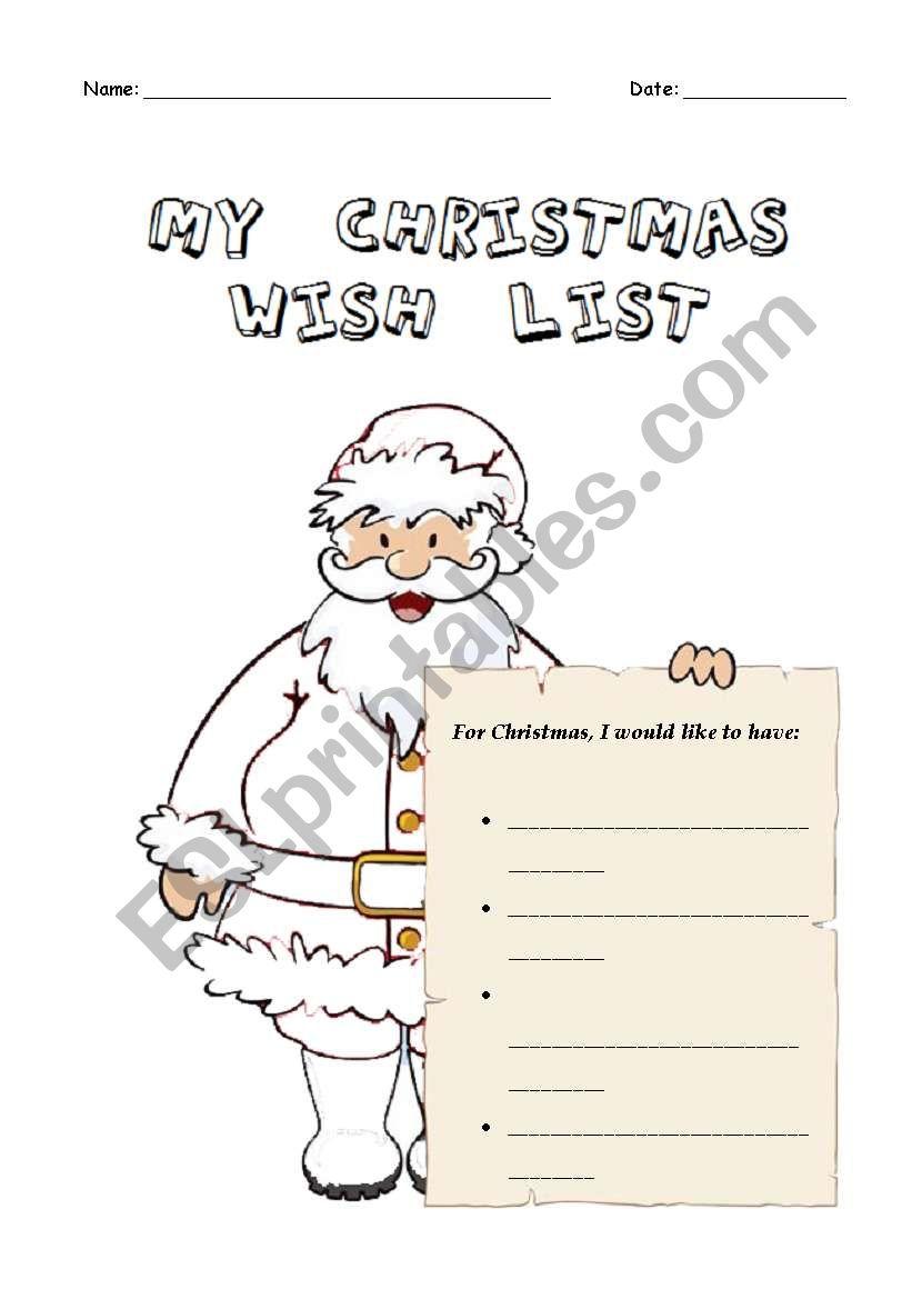 My Christmas Wish List.My Christmas Wish List Esl Worksheet By Carlaheaven