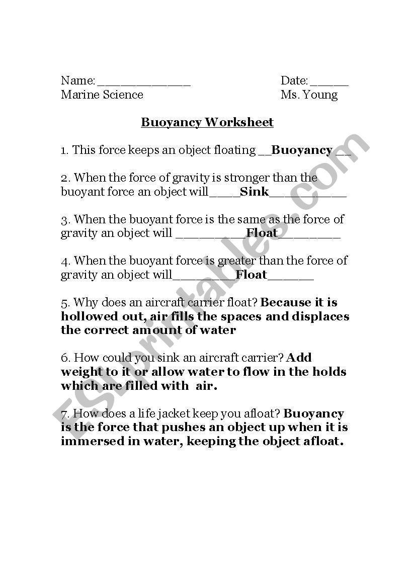 worksheet Buoyancy Worksheet english worksheets buoyancy worksheet