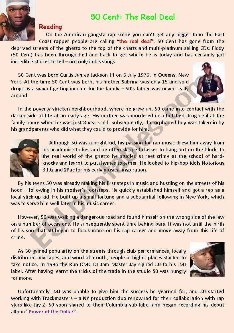 50 Cent: The Real Deal - ESL worksheet by mybaby