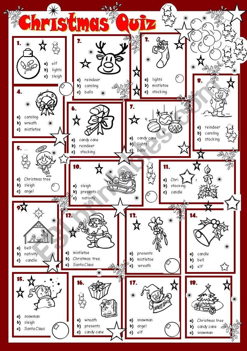 image about Printable Christmas Quiz named Xmas Quiz - ESL worksheet by way of evacufu