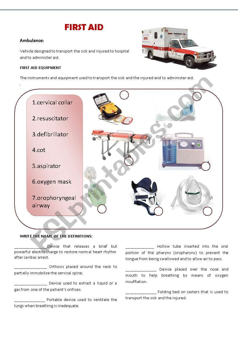 worksheet First Aid Worksheets english worksheets hostpital first aid worksheet