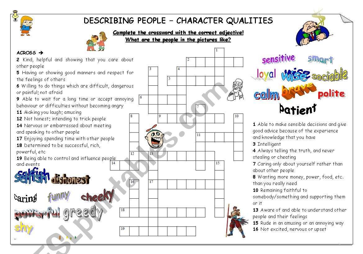 Describing people - character worksheet