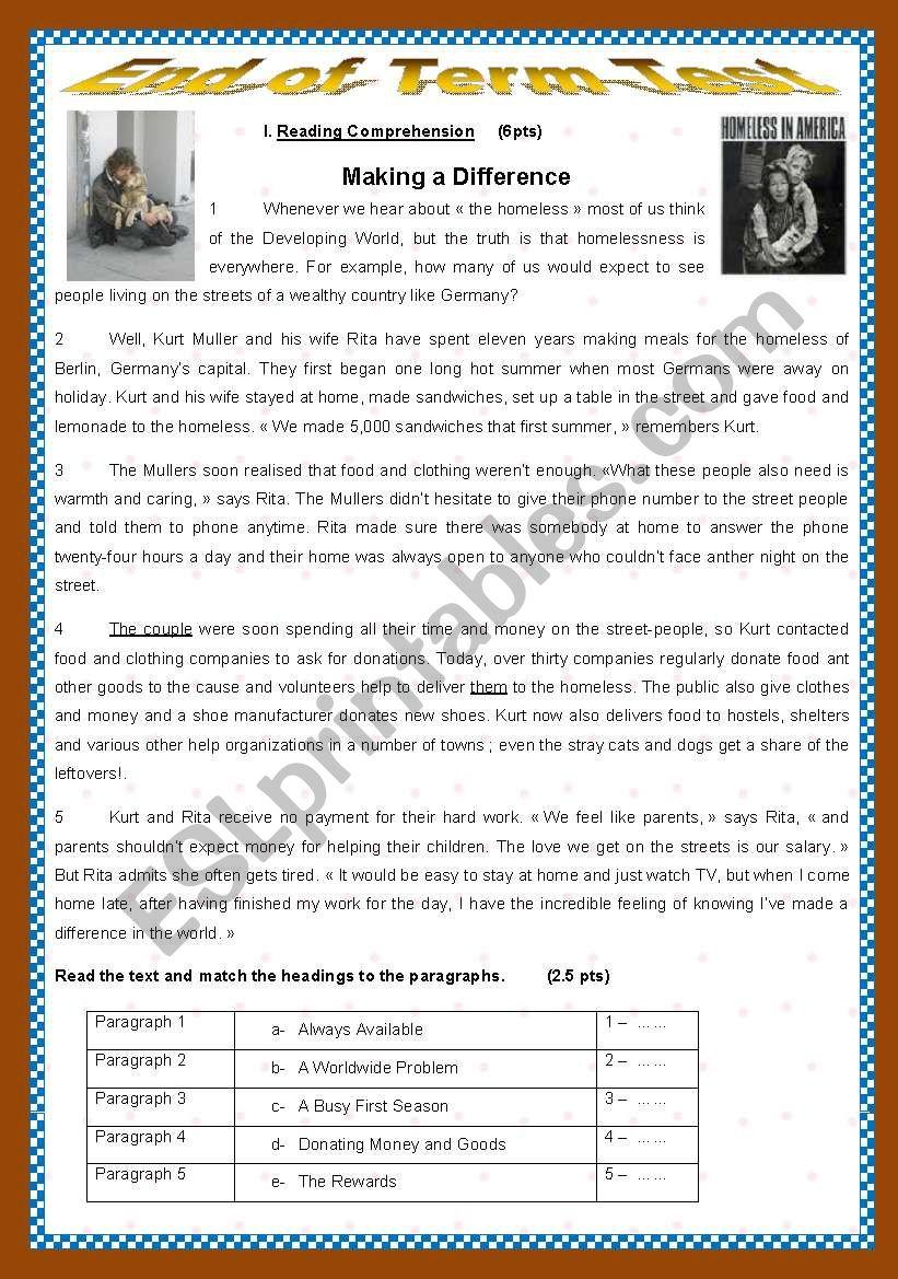End of Term Test N: 3 worksheet