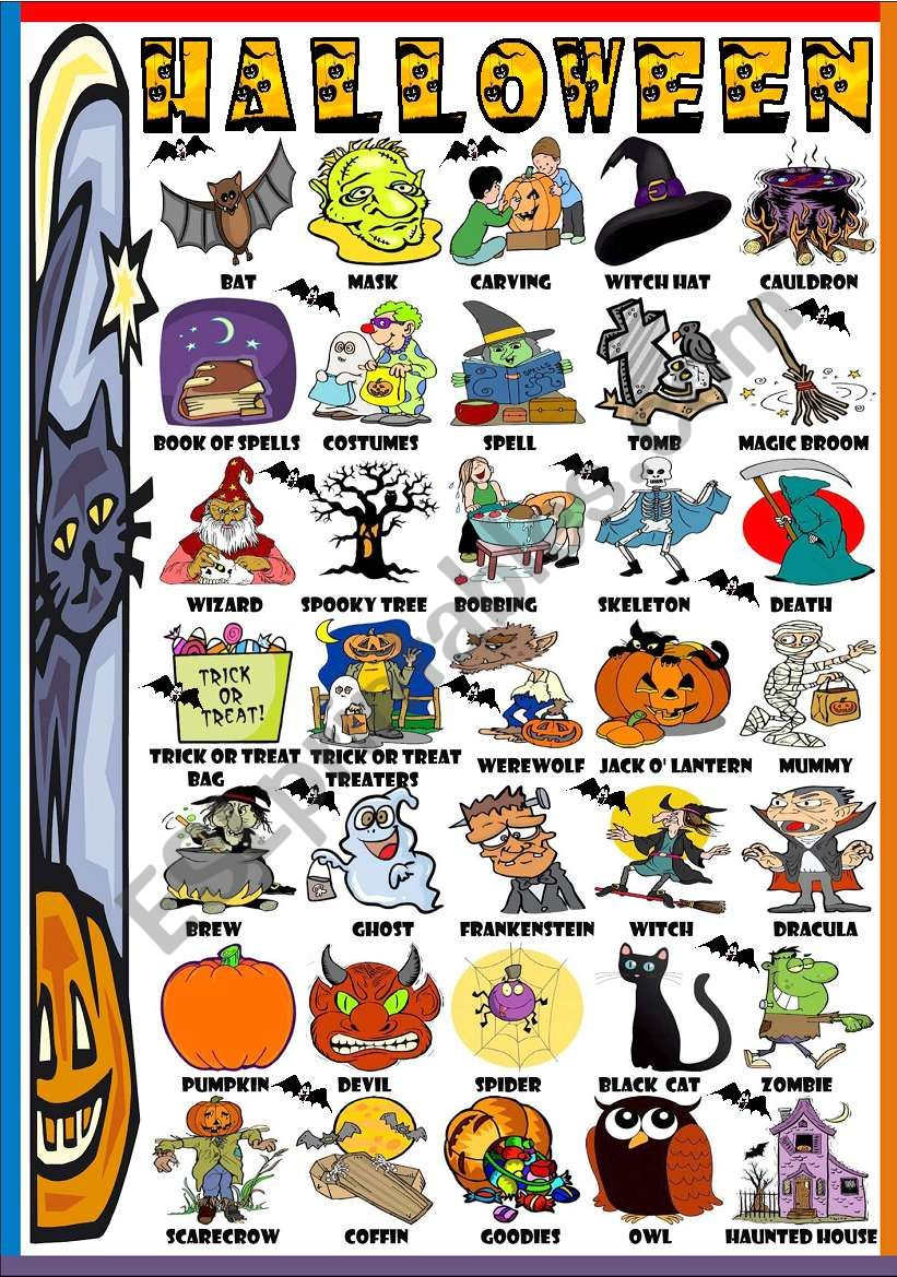 HALLOWEEN- PICTURE DICTIONARY (B&W VERSION INCLUDED)