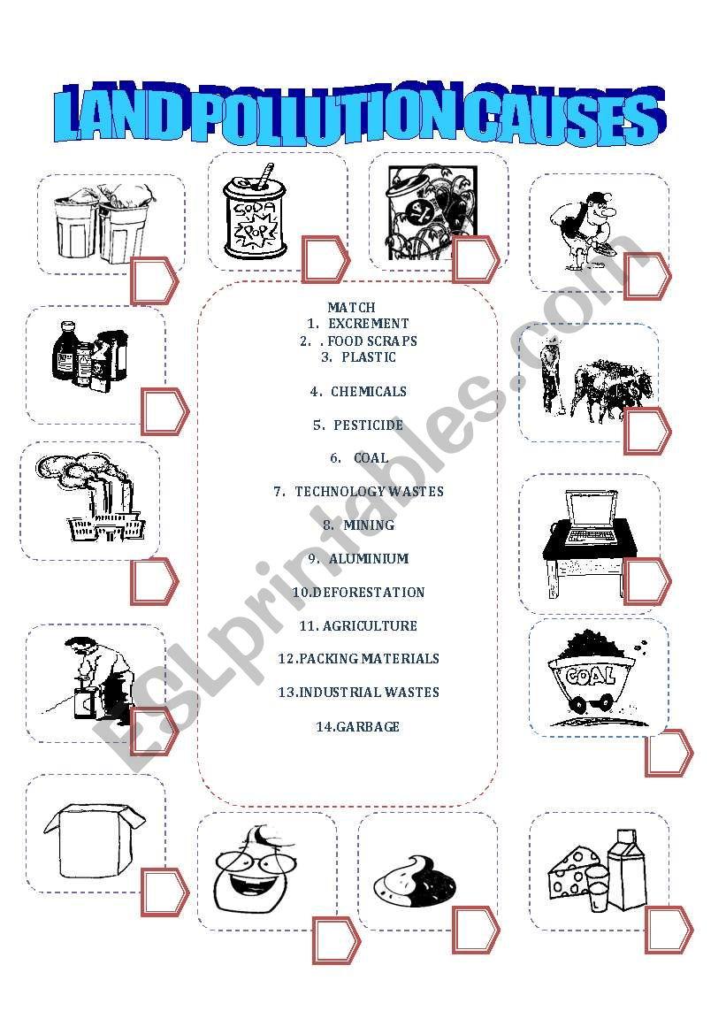 worksheet Pollution Worksheets english worksheets land pollution causes worksheet