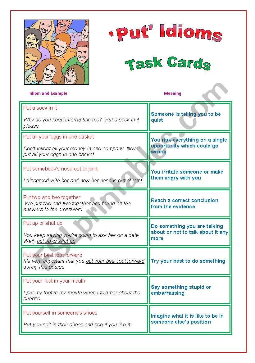 ´Put´ Idioms : Task Cards worksheet
