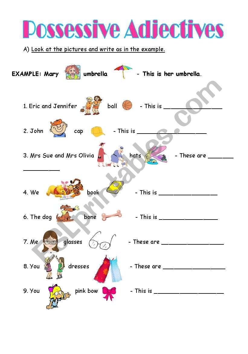 Possessive Adjectives - ESL worksheet by martamatos