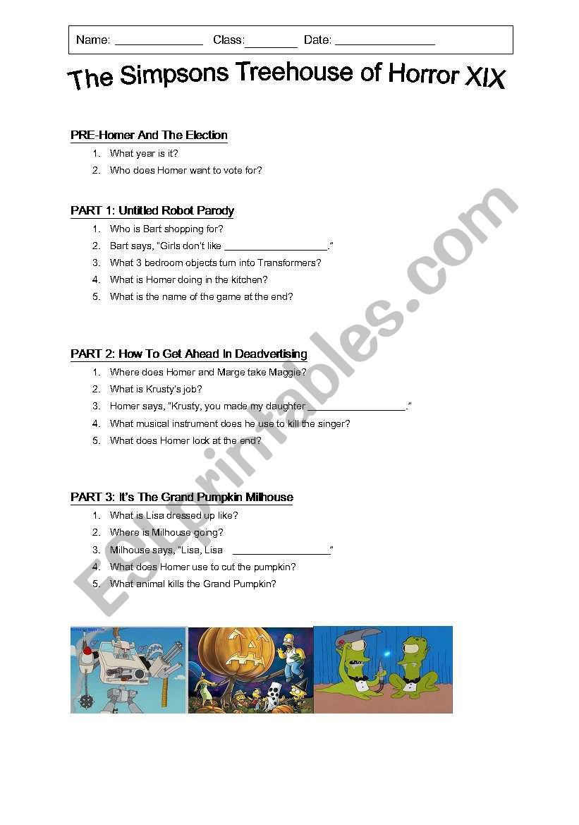 The Simpsons Treehouse of Horror 19 - ESL worksheet by jhyland002