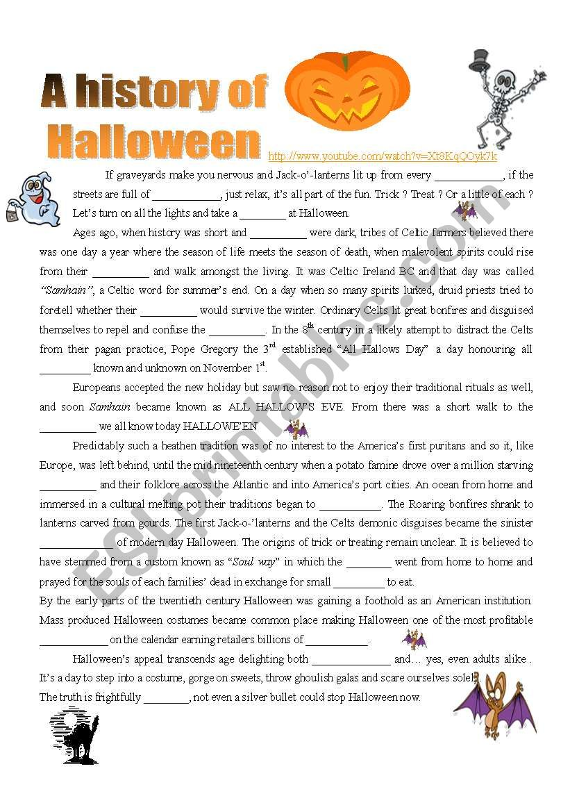 A History of Halloween : VIDEO ( 4 pages )