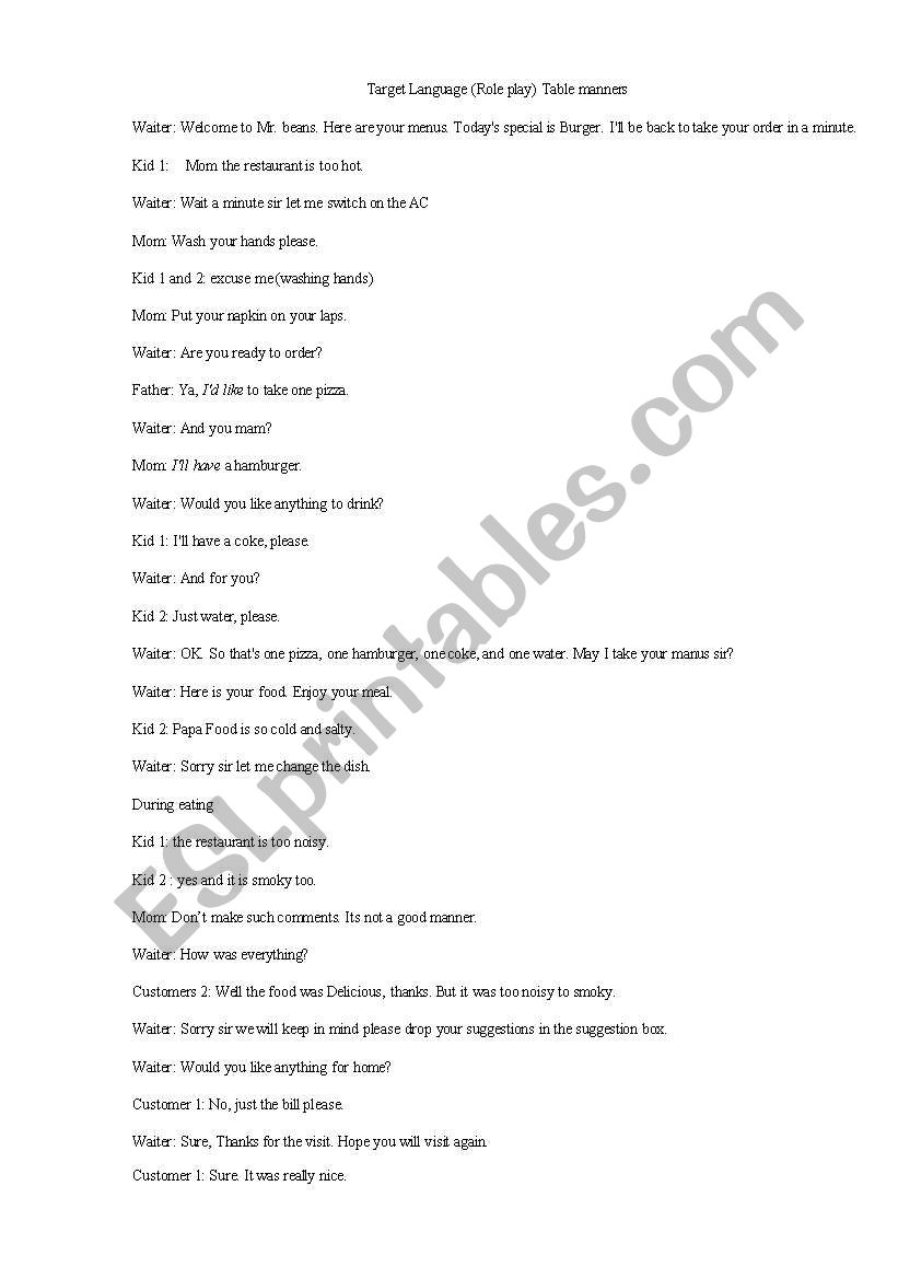 Role Play About Table Manners Esl Worksheet By Ramchandra