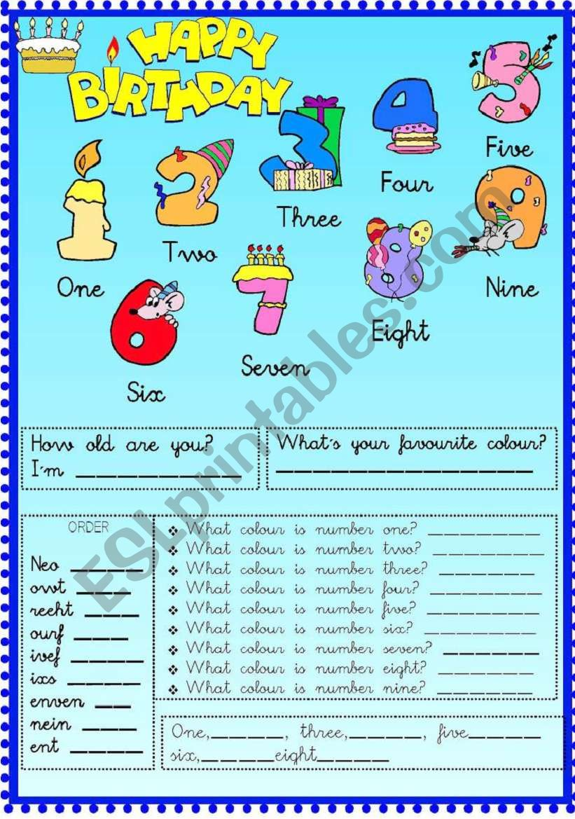 happy birthday numbers esl worksheet by conchi63. Black Bedroom Furniture Sets. Home Design Ideas