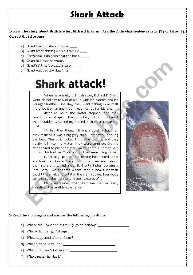 Shark Attack! worksheet