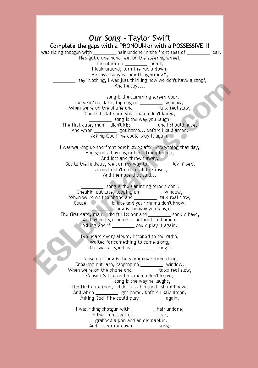 Taylor Swift - Our song - about pronouns and possessive adjectives ...