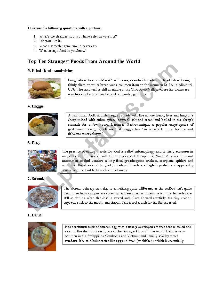 Strange food around the world worksheet