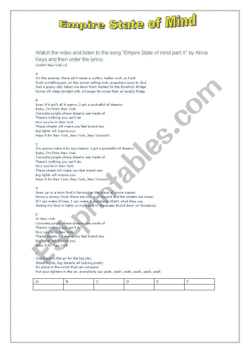English worksheets: empire state of mind