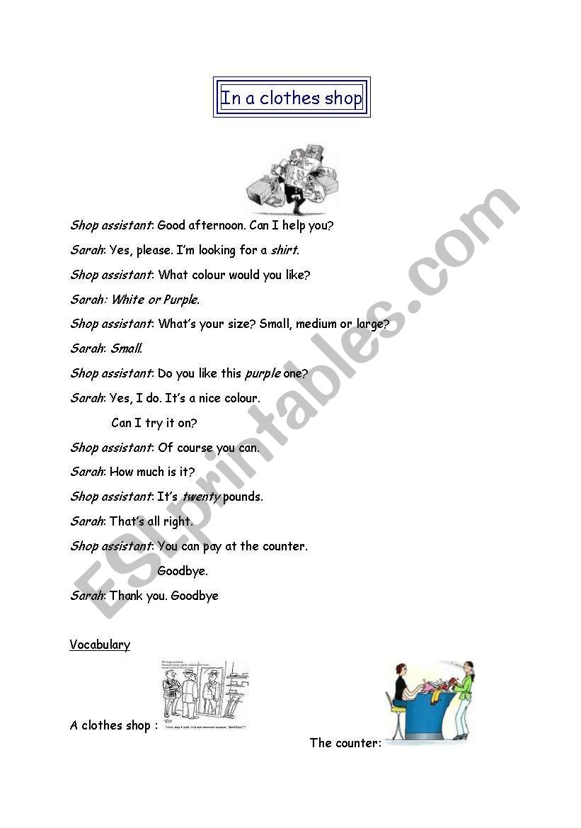 In a clothes shop - role play worksheet