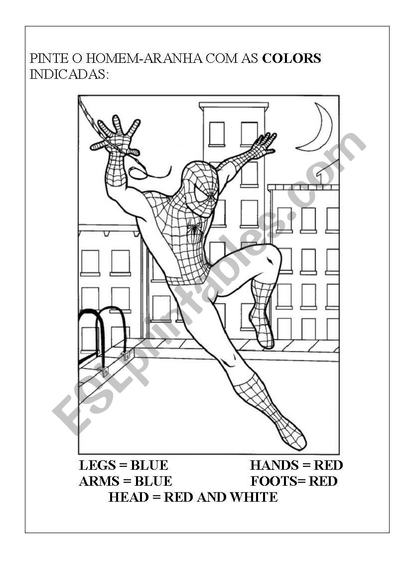 Spiderman body worksheet