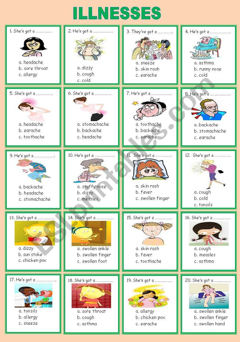 illnesses (multiple choice) worksheet