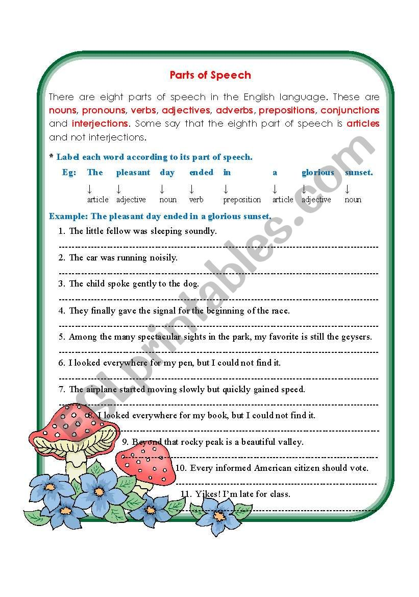 Parts of Speech   ESL worksheet by missola