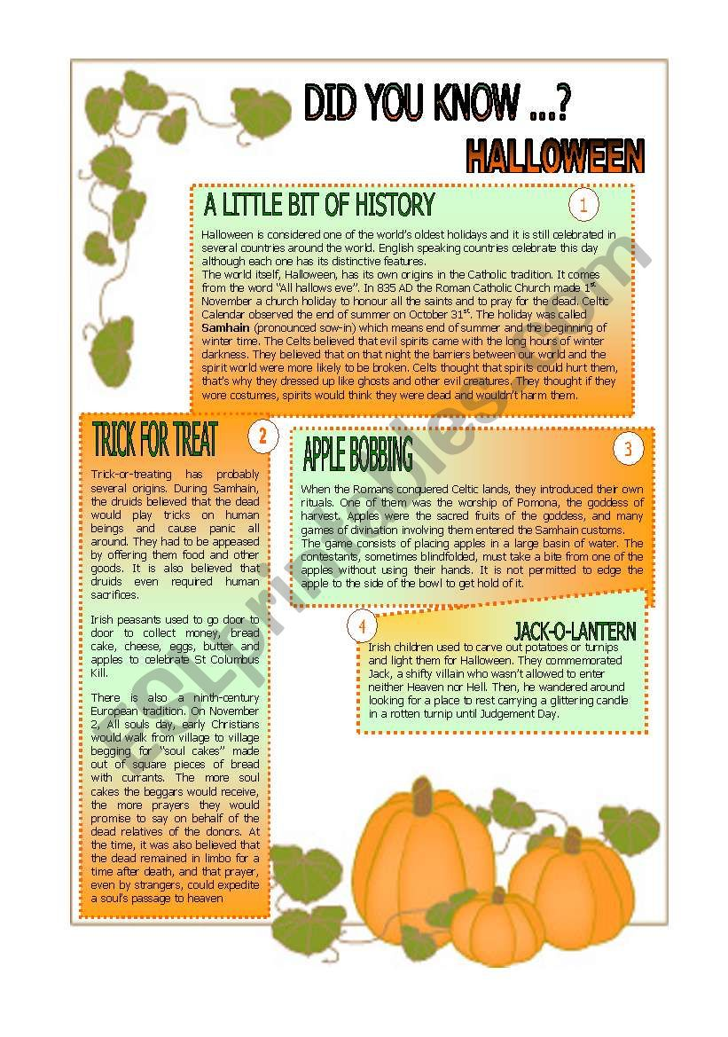 Did you know.... HALLOWEEN. worksheet