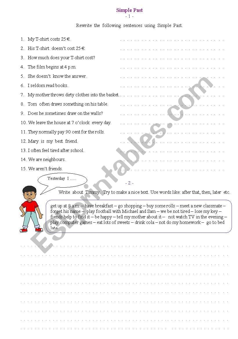 Past Simple Tense Esl Worksheet By Lidia B