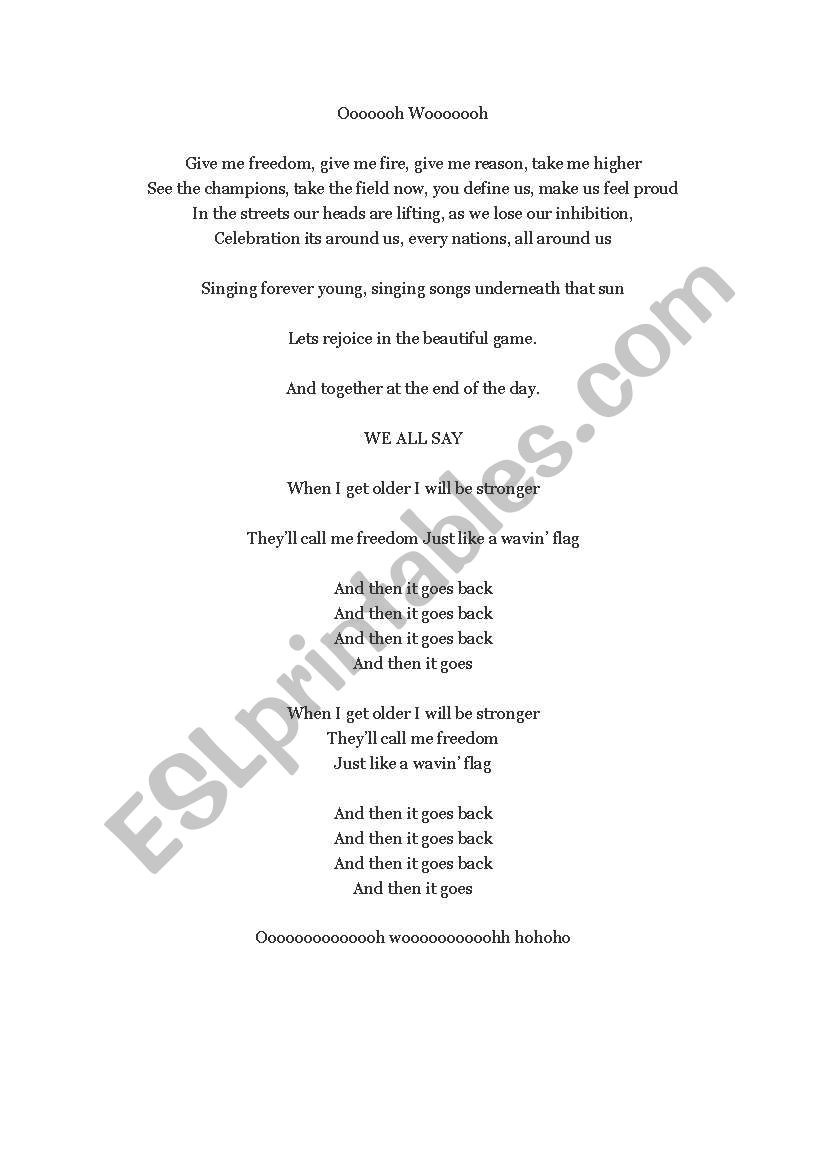 English worksheets: Song:Give me freedom (Speaking practice)