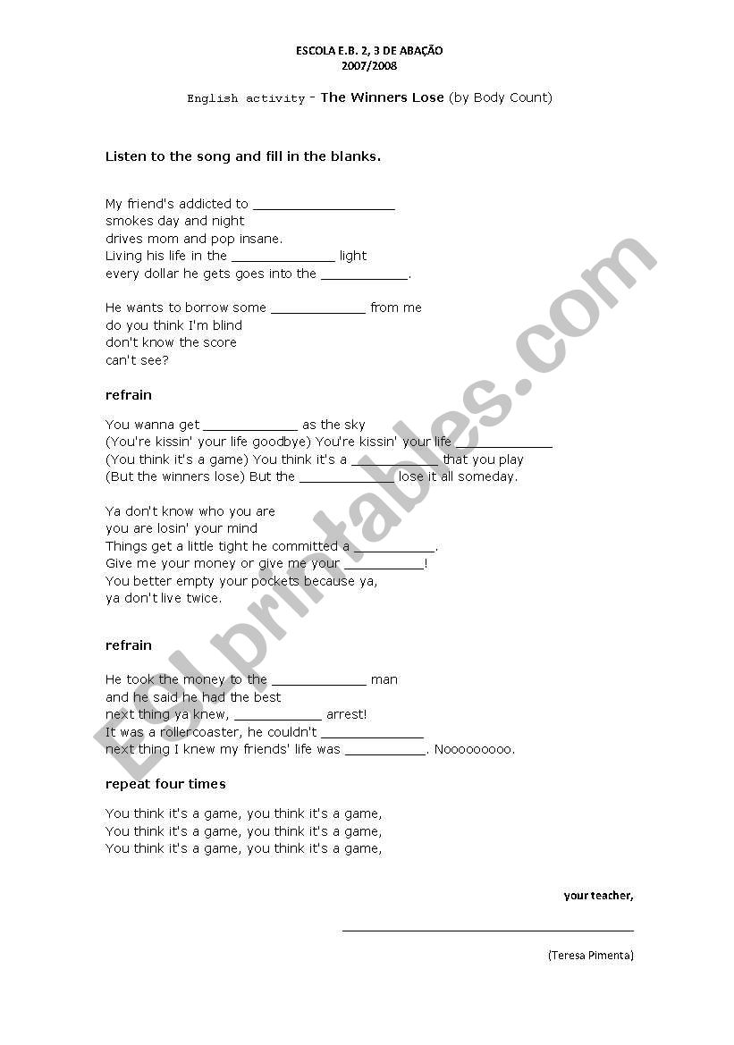 English Worksheets Lyrics About Drugs The Winner Loses By Body Count