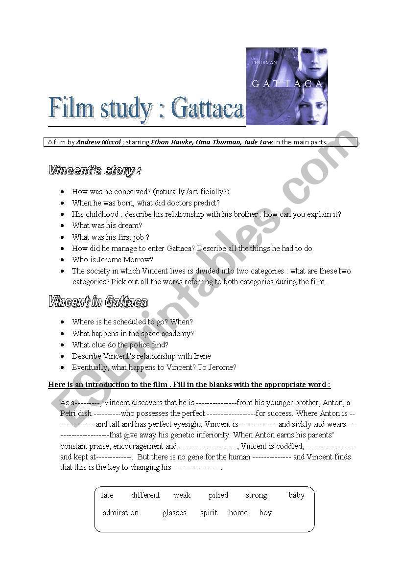 Worksheets Gattaca Worksheet gattaca esl worksheet by sophie85 worksheet