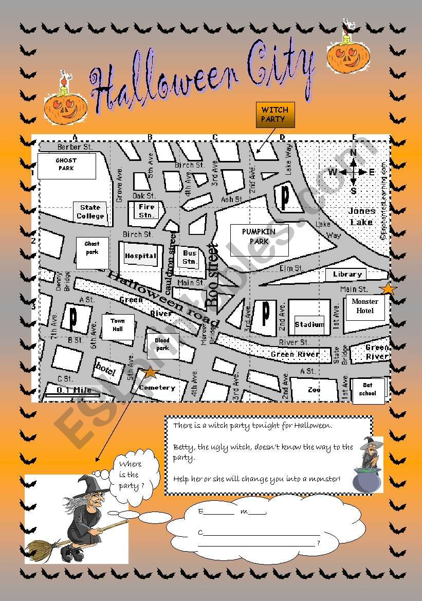 Halloween City: directions worksheet
