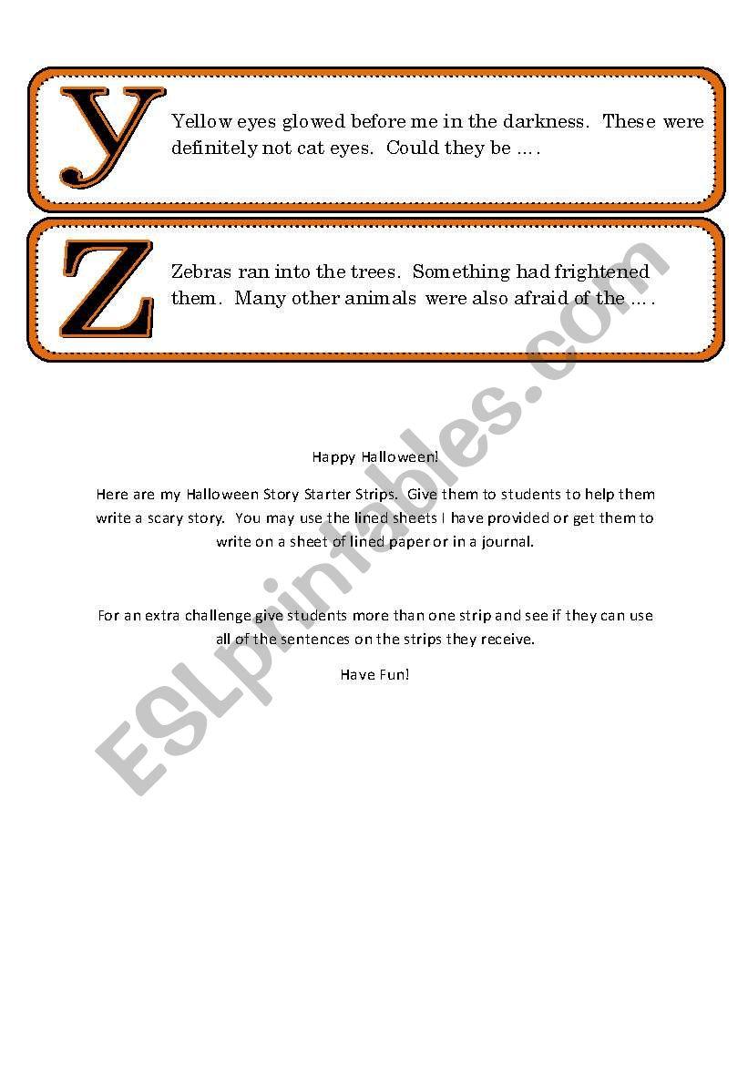 Halloween Story Starter Strips - 26 in all - ESL worksheet by Pinky